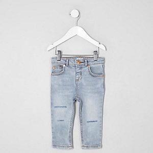 Mini - Sid - Lichtblauwe ripped skinny jeans voor jongens