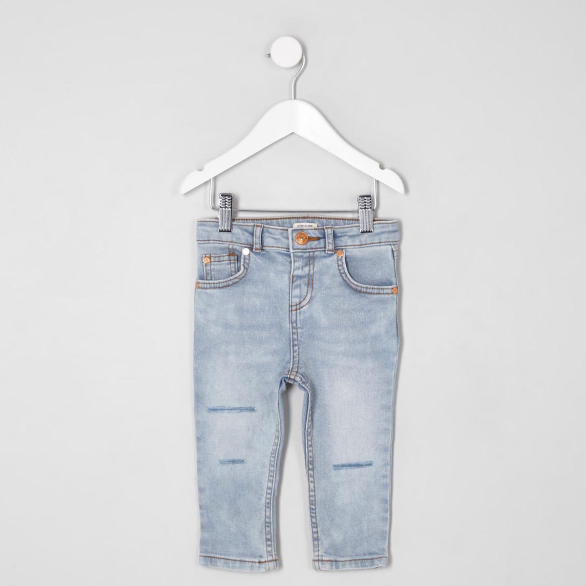 Mini boys light blue Sid ripped skinny jeans