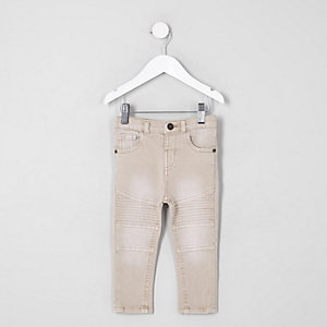 Mini boys pink Sid skinny biker panel jeans