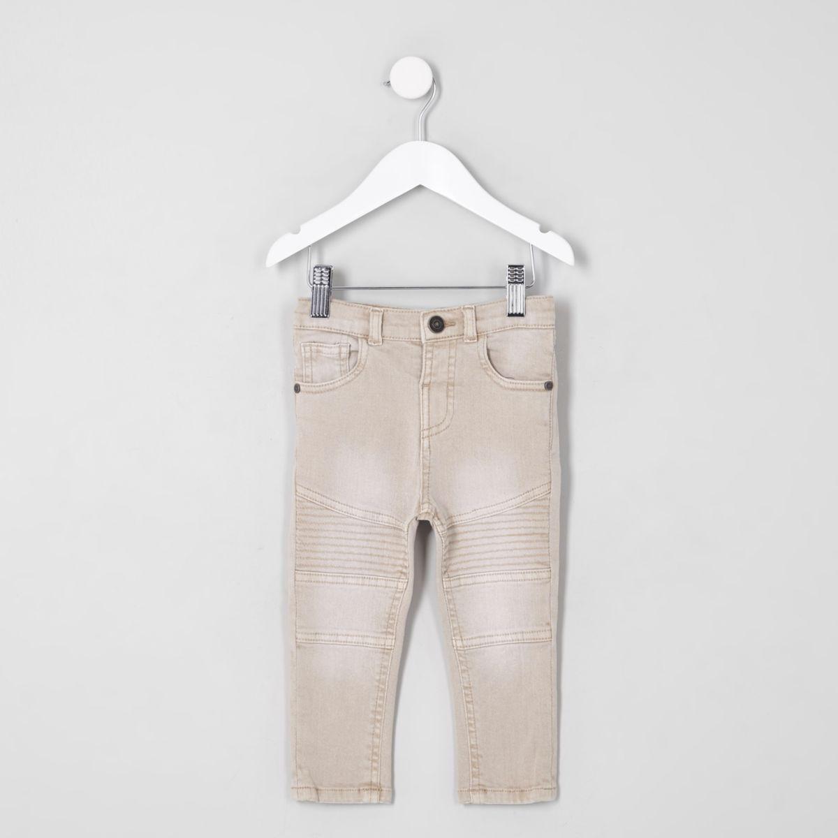Mini boys pink Sid skinny biker panel jeans
