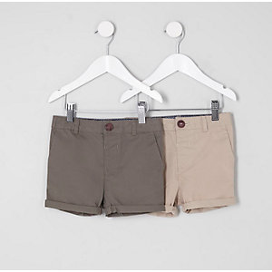 Mini boys khaki and stone shorts multipack