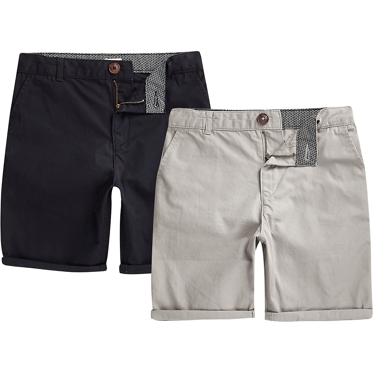 Boys navy and grey chino shorts multipack