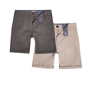 Boys khaki and stone chino shorts multipack