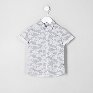 Mini boys grey digital camo print shirt