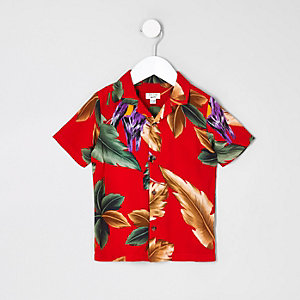Mini boys red leaf print shirt