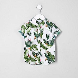 Mini - Ecru overhemd met bladprint en korte mouwen voor jongens