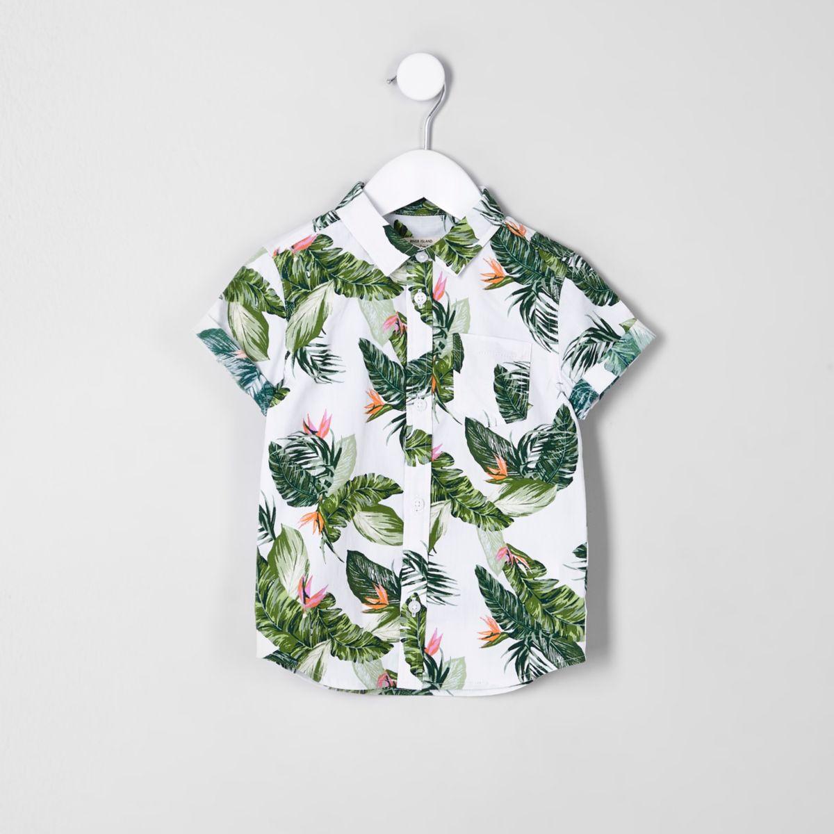 Mini boys ecru leaf print short sleeve shirt