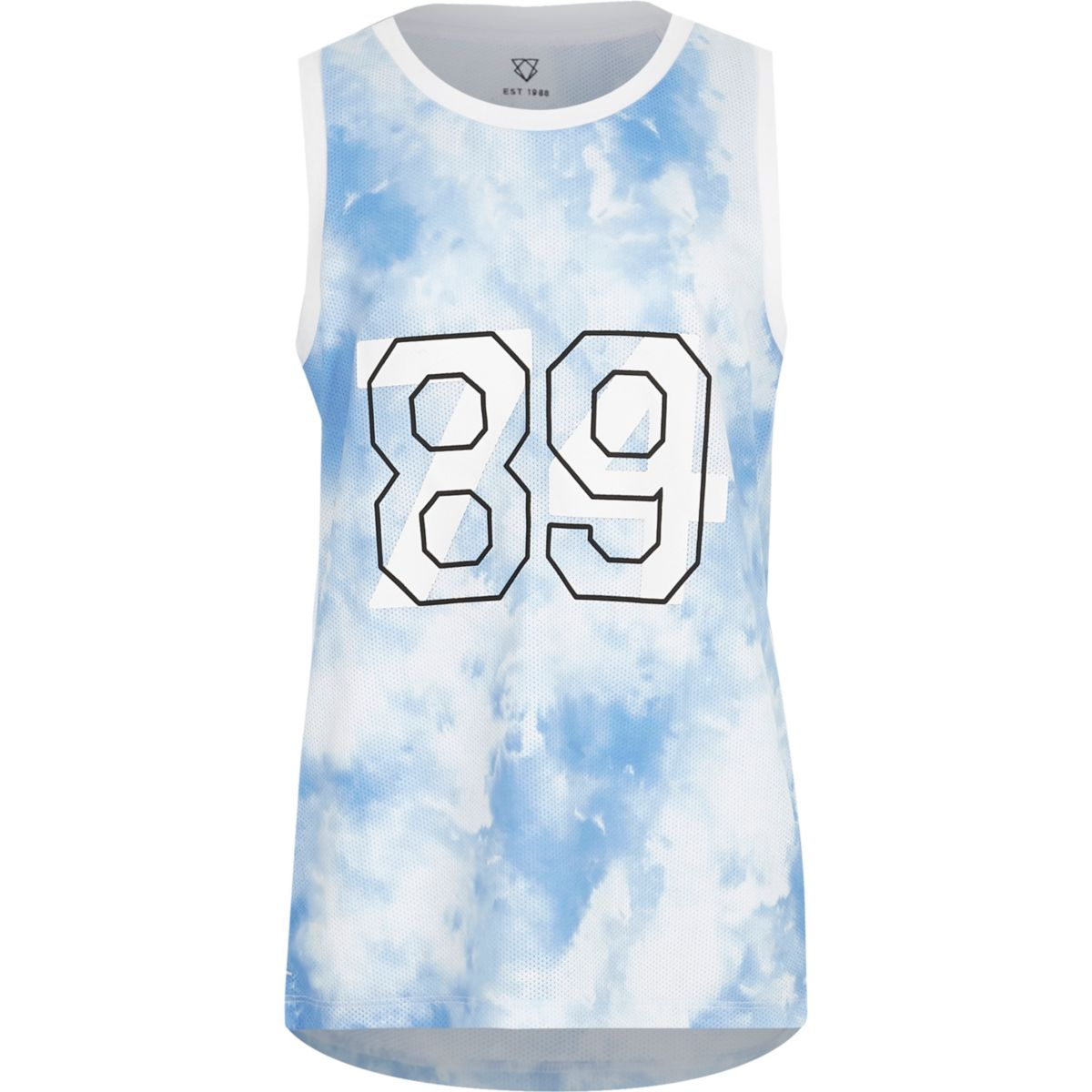 Boys blue cloud print mesh tank