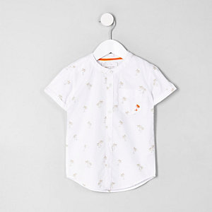 Mini boys white poplin palm tree shirt