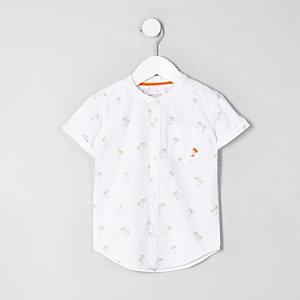 Mini boys white poplin palm tree shirt