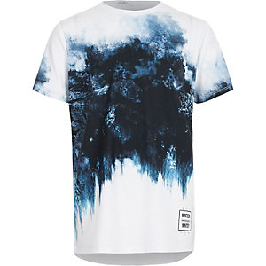 Boys blue geo smudge print fade T-shirt