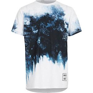 Blauw T-shirt met kleurverloop en geometrische vlekkenprint