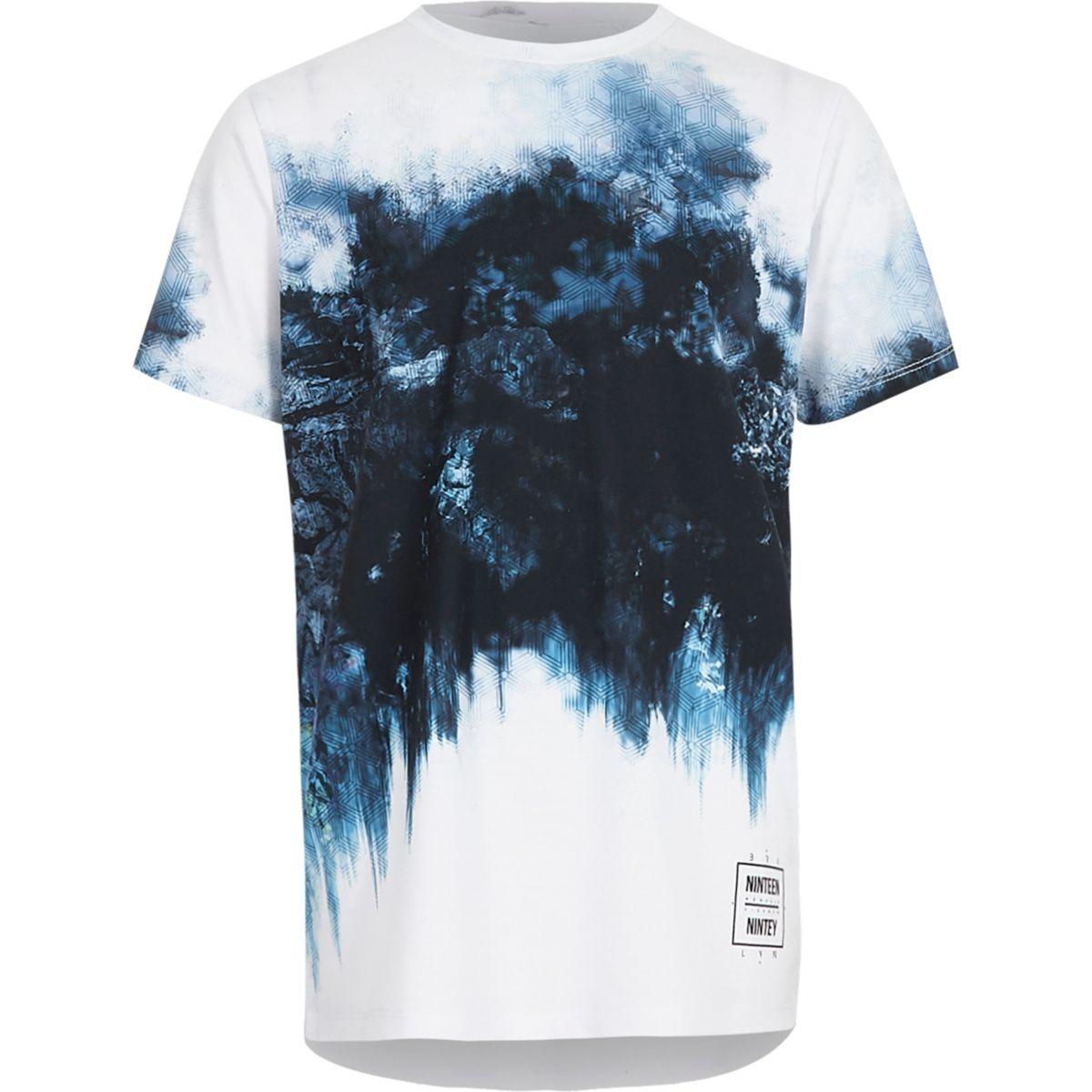 T-shirt imprimé tache et motif géométrique bleu délavé pour garçon