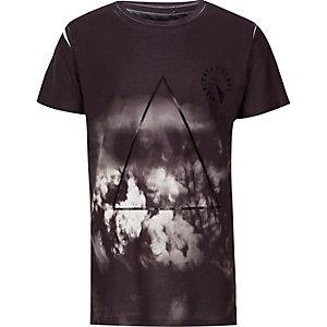 Zwart T-shirt met wolkenprint en logo op de borst voor jongens