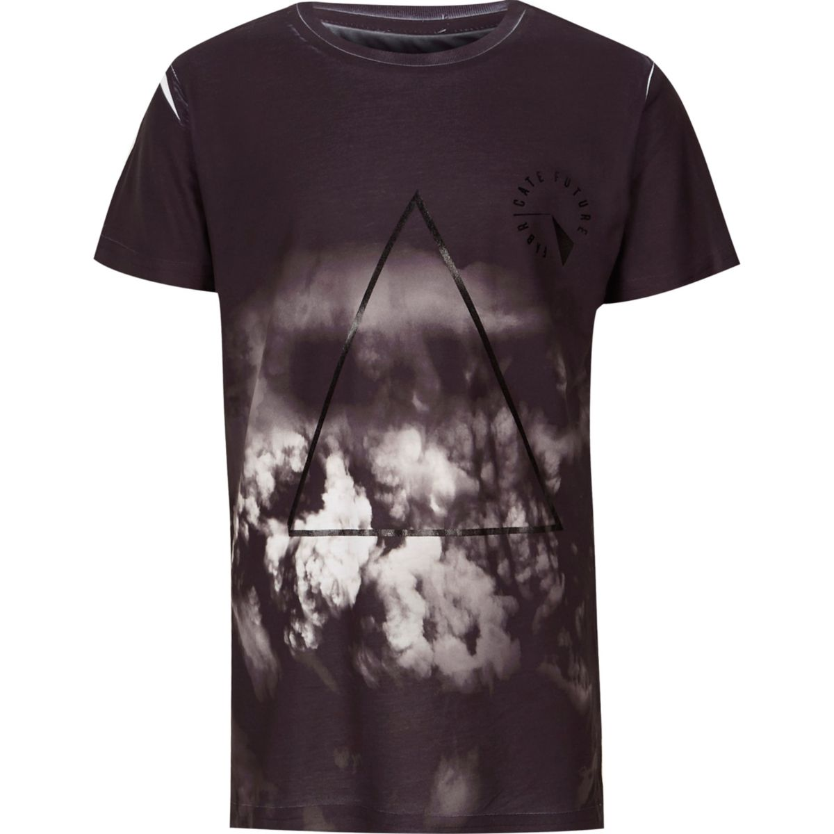 Boys black cloud print chest logo T-shirt