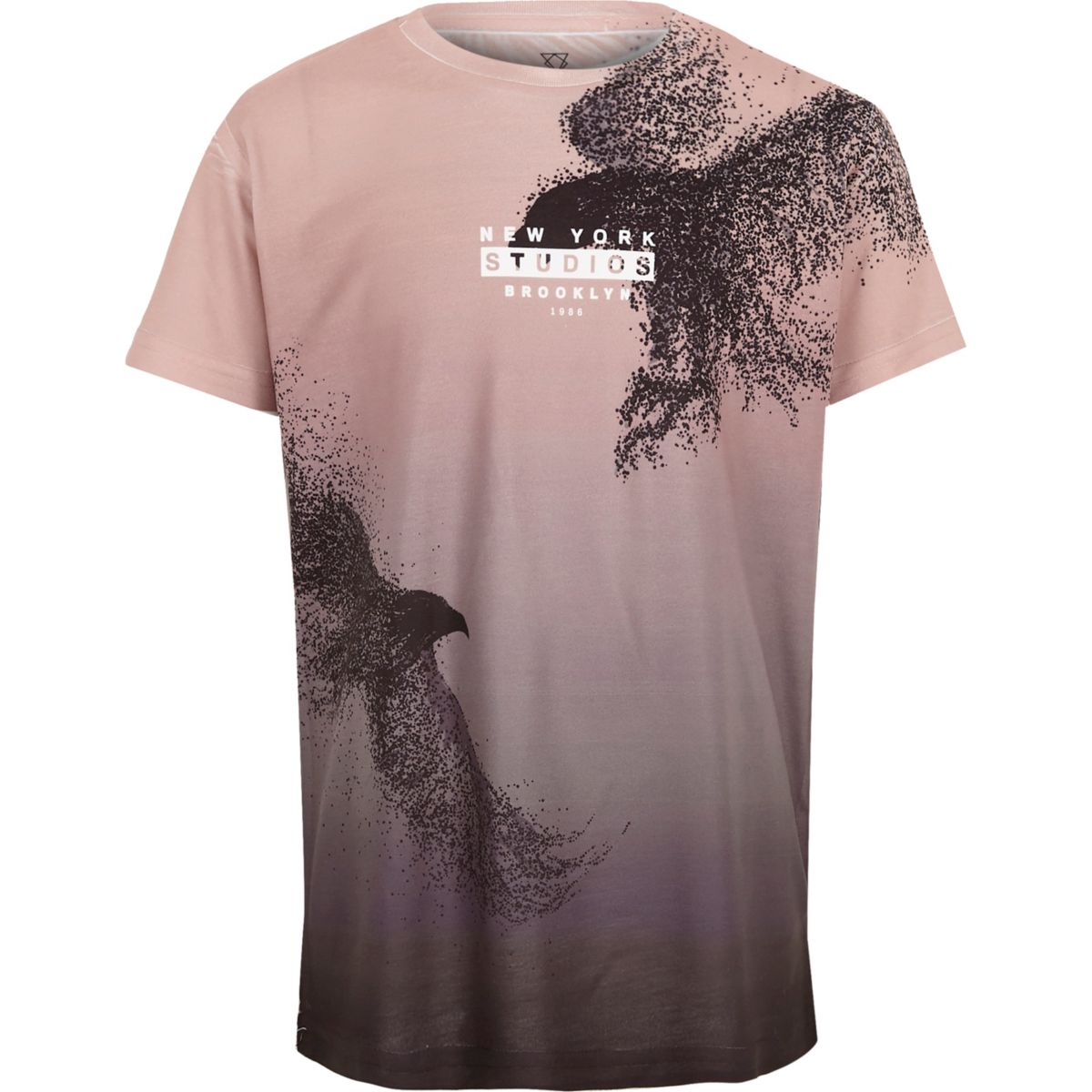 Boys pink bird fade print 'New York' T-shirt