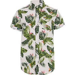 Boys ecru leaf print shirt