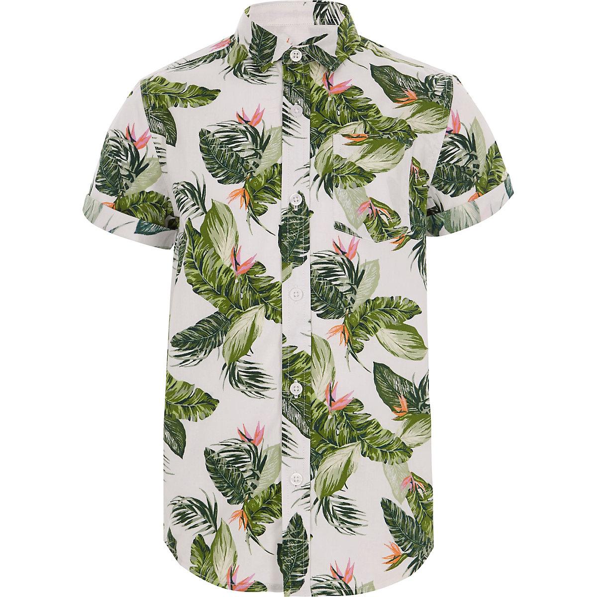 Boys ecru leaf print shirt