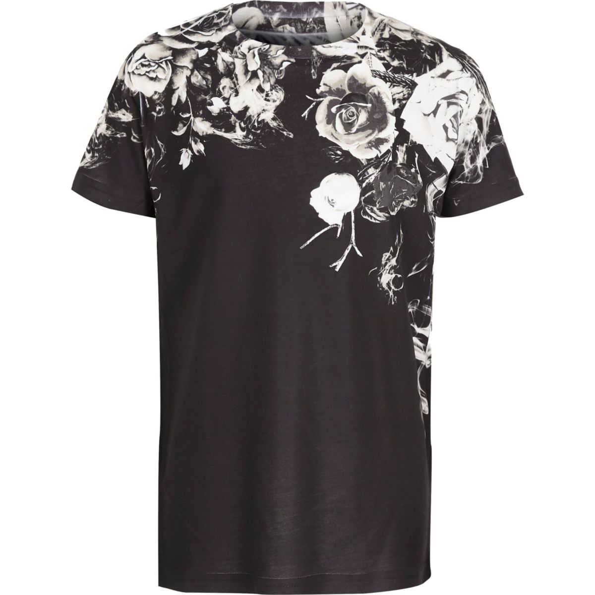 Boys black floral fade print t shirt t shirts t shirts for Black floral print shirt