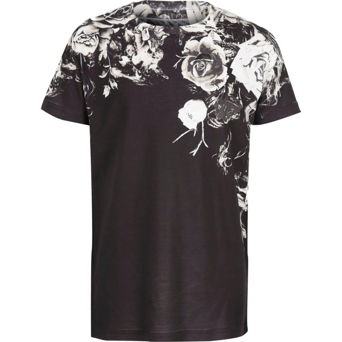 T-shirt à imprimé floral délavé noir garçon
