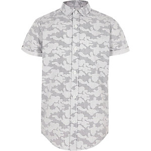 Boys grey digital camo short sleeve shirt