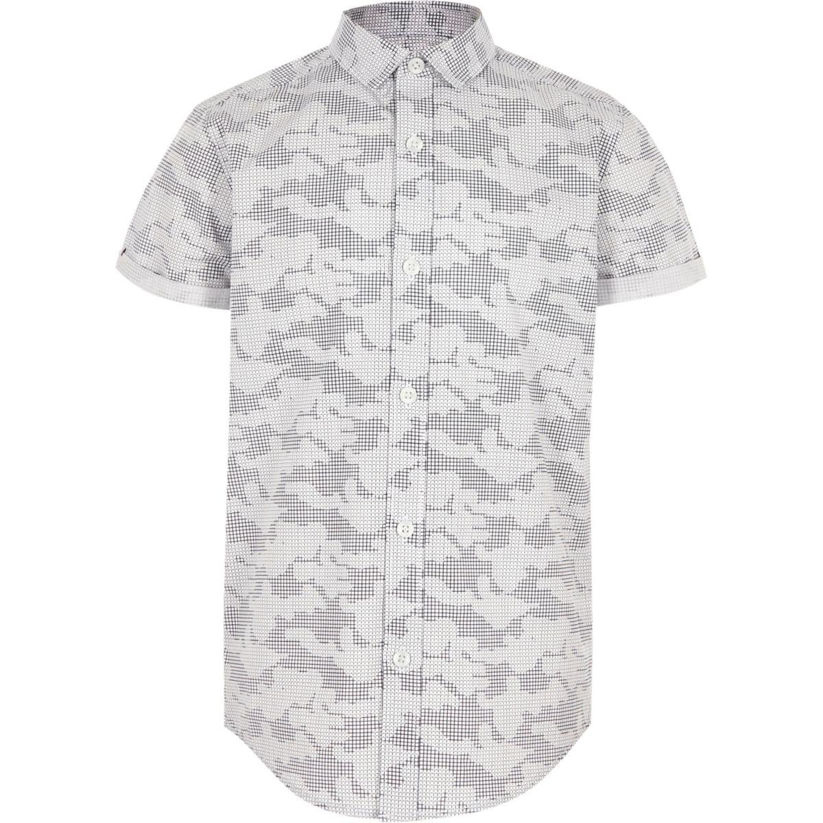 Boys grey digital camo short sleeve shirt