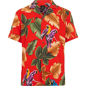 Rood overhemd met korte mouwen en papegaaienprint voor jongens
