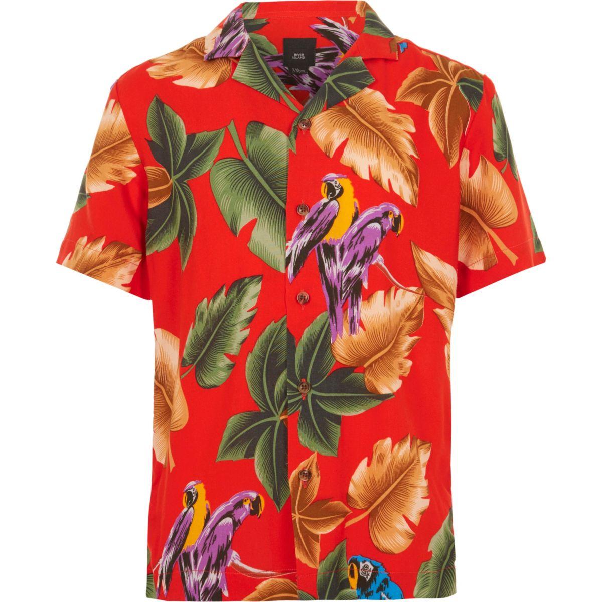 Boys red short sleeve parrot print shirt