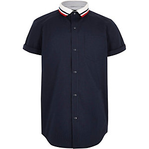 Boys navy knitted stripe  collar shirt