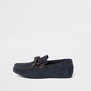Boys navy textured suede driver shoes