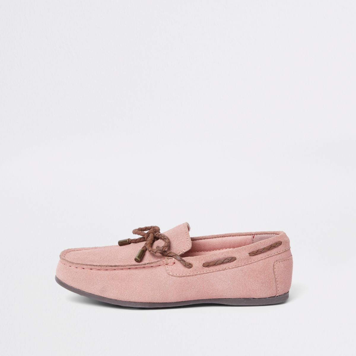 Boys pink suede driver shoes