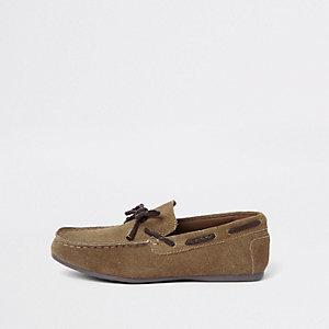 Boys khaki suede driver shoes