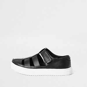 Boys black caged shoe