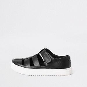 Boys black caged shoe