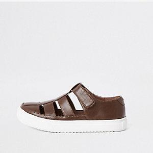 Chaussures marron effet cage pour garçon