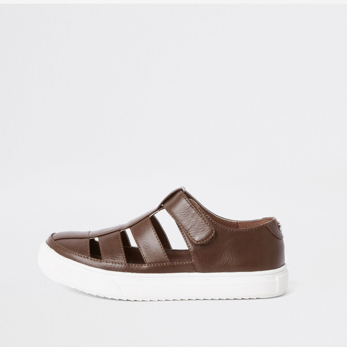 Boys brown caged shoe