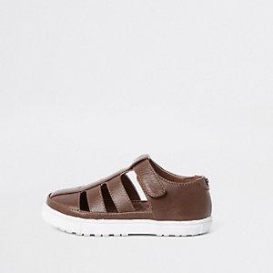 Chaussures marron effet cage mini garçon