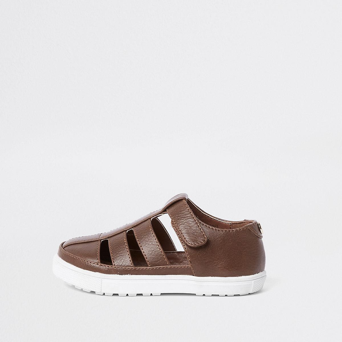Mini boys brown caged shoe