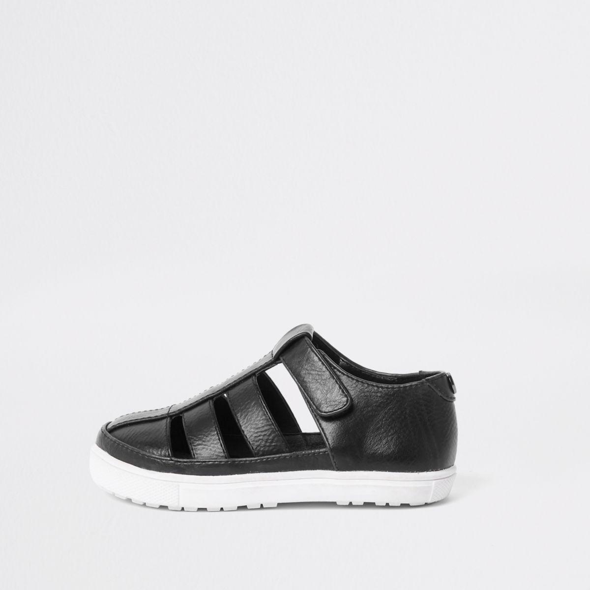 Mini boys black caged shoe