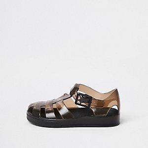 Mini - Rookzwarte jelly sandalen voor jongens