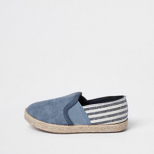 Mini boys blue espadrille slip on plimsolls