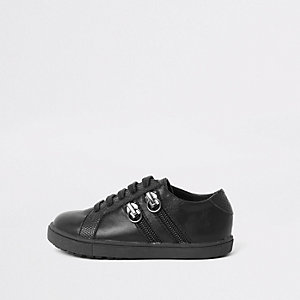 Mini boys black lace-up double zip trainers