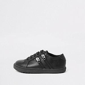 Zwarte vetersneakers met dubbele rits opzij voor mini-jongens