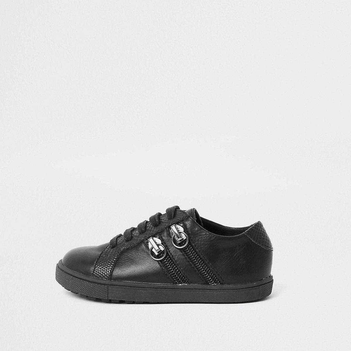 Mini boys black lace-up double zip trainers