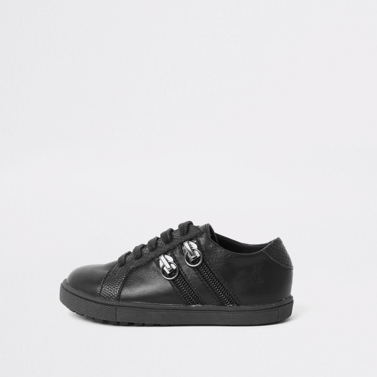 Mini boys black lace-up double zip sneakers