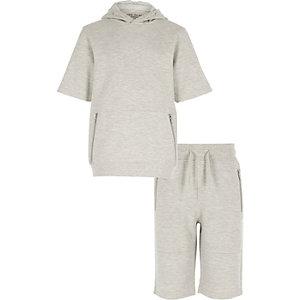 Ensemble avec sweat à capuche manches courtes gris texturé garçon