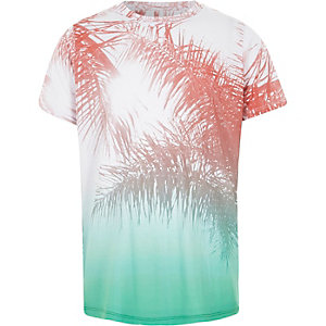 Boys red and green palm leaf print T-shirt