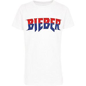 Wit tour T-shirt met 'Bieber'-print voor jongens