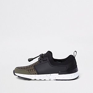 Boys khaki mesh runner sneakers
