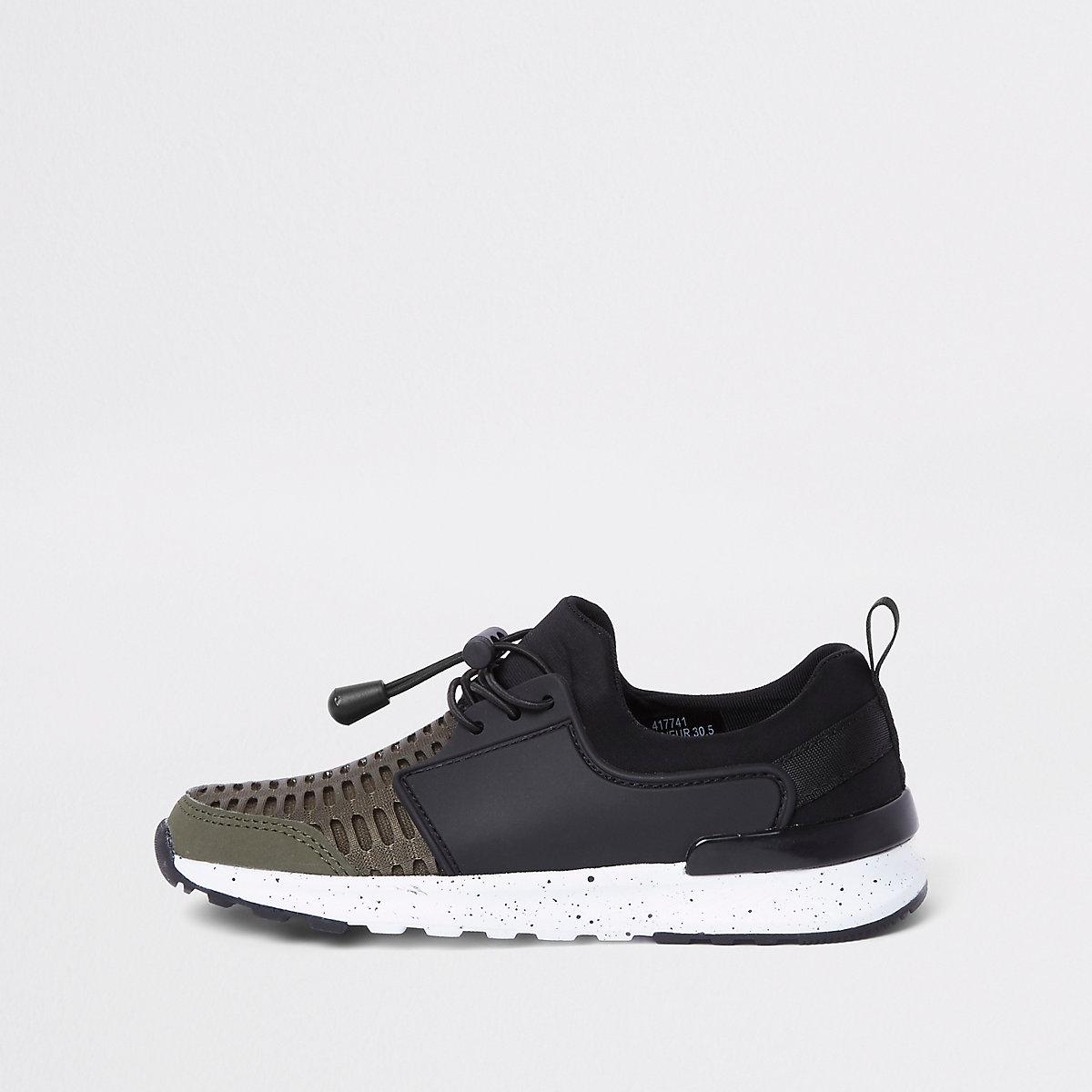 Boys khaki mesh runner sneakers